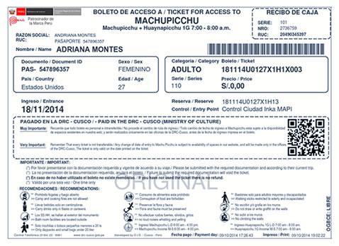Impresion Machu Picchu Ticket