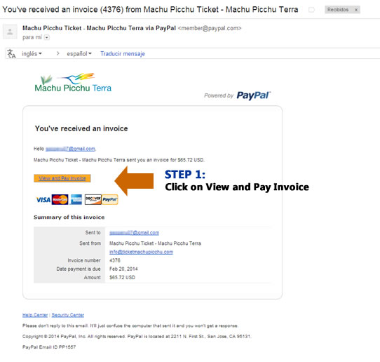 pay ticket machu picchu easily with paypal