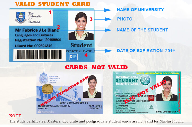 University id card valid to reserve the ticket Machu Picchu