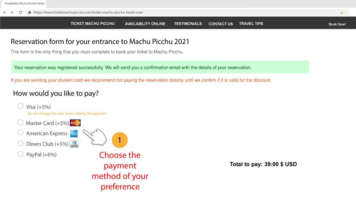 Payment methods Machu Picchu