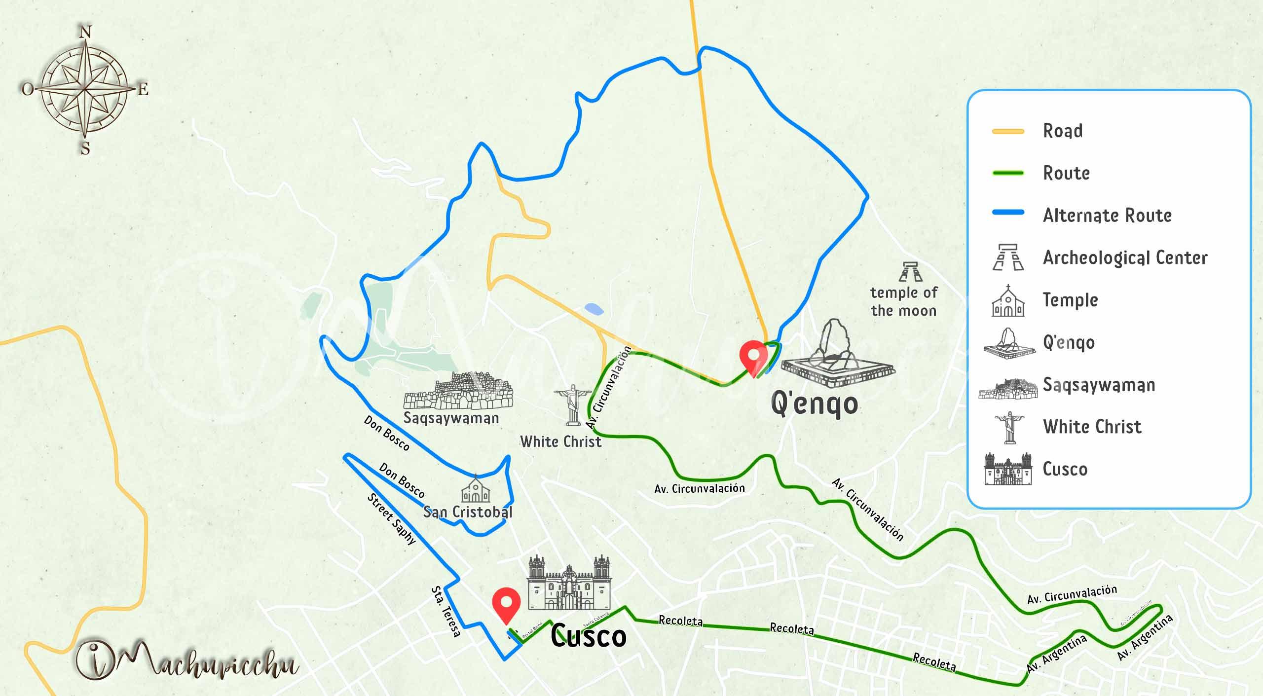 Map Cusco to Qenqo