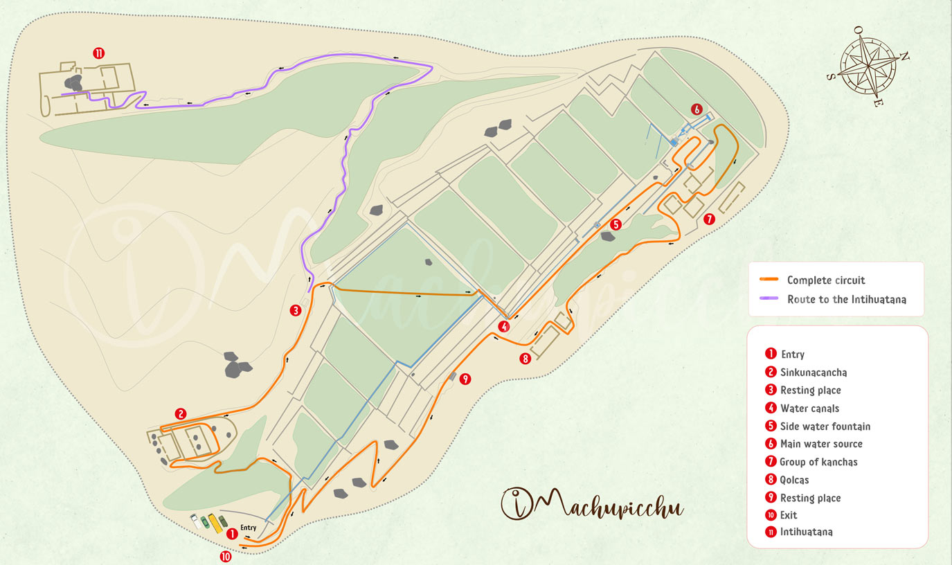 Map of the archaeological site of Tipón