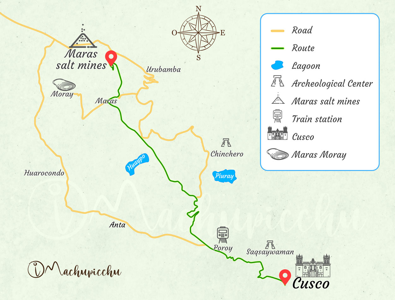 Map of the Salineras de Maras