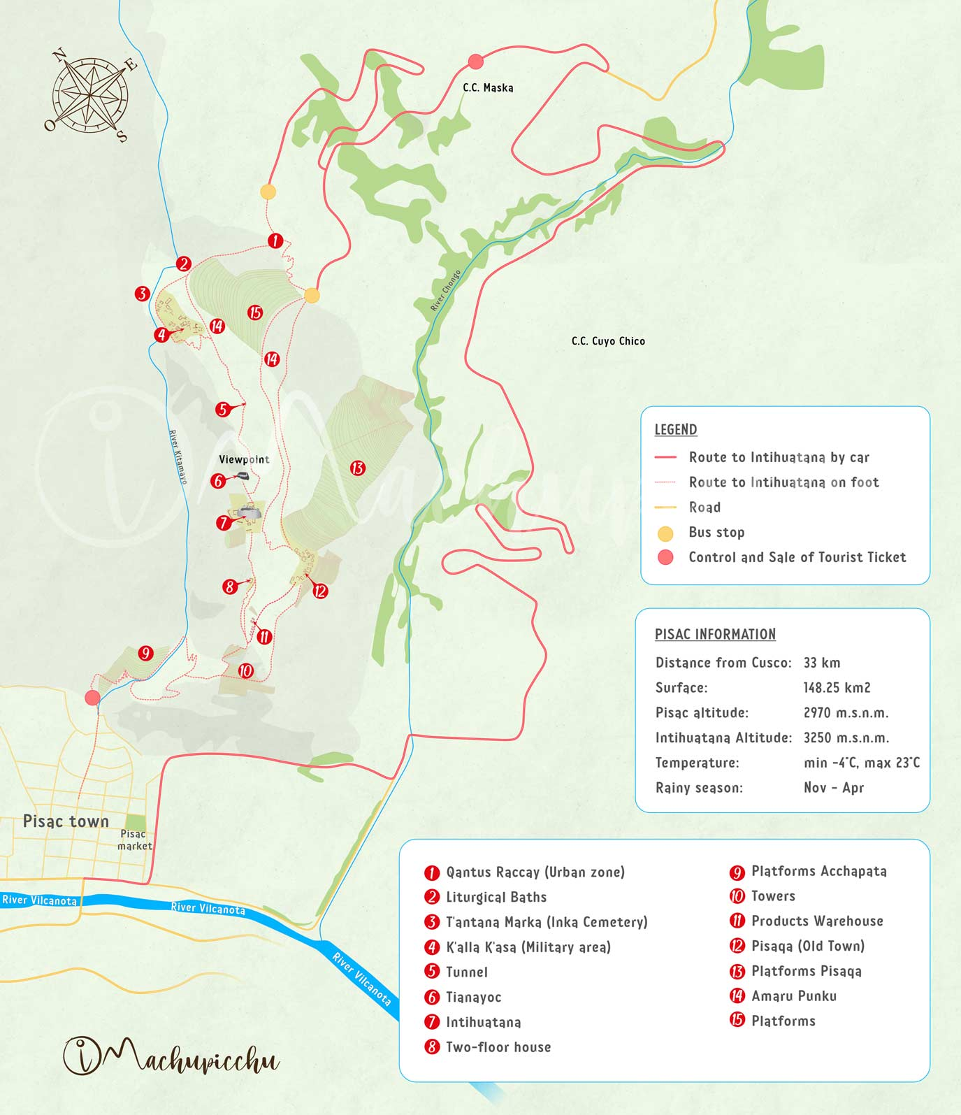 Pisac archaeological site travel map