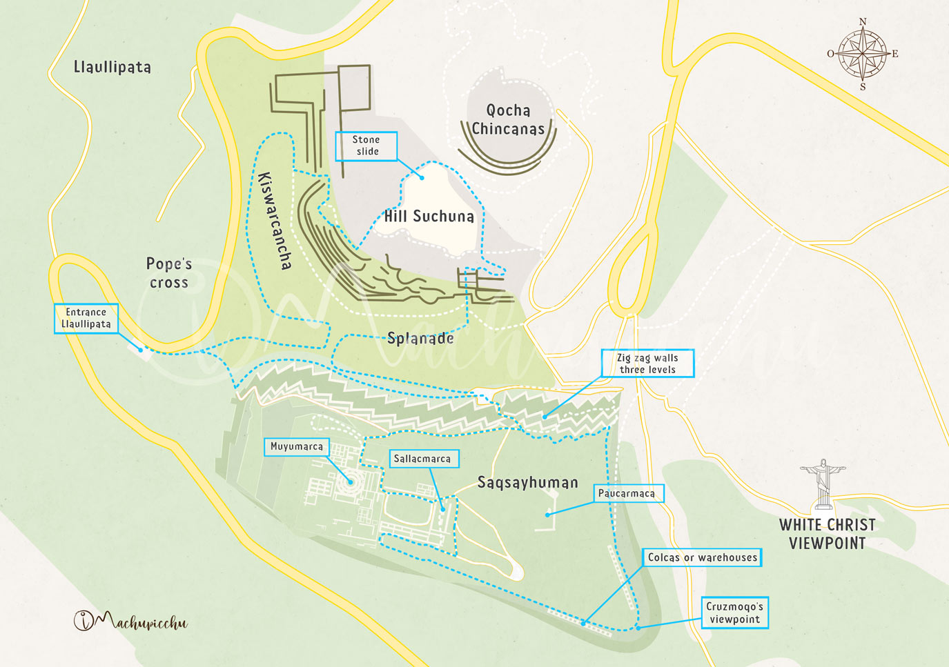Map of the route to Sacsayhuamán