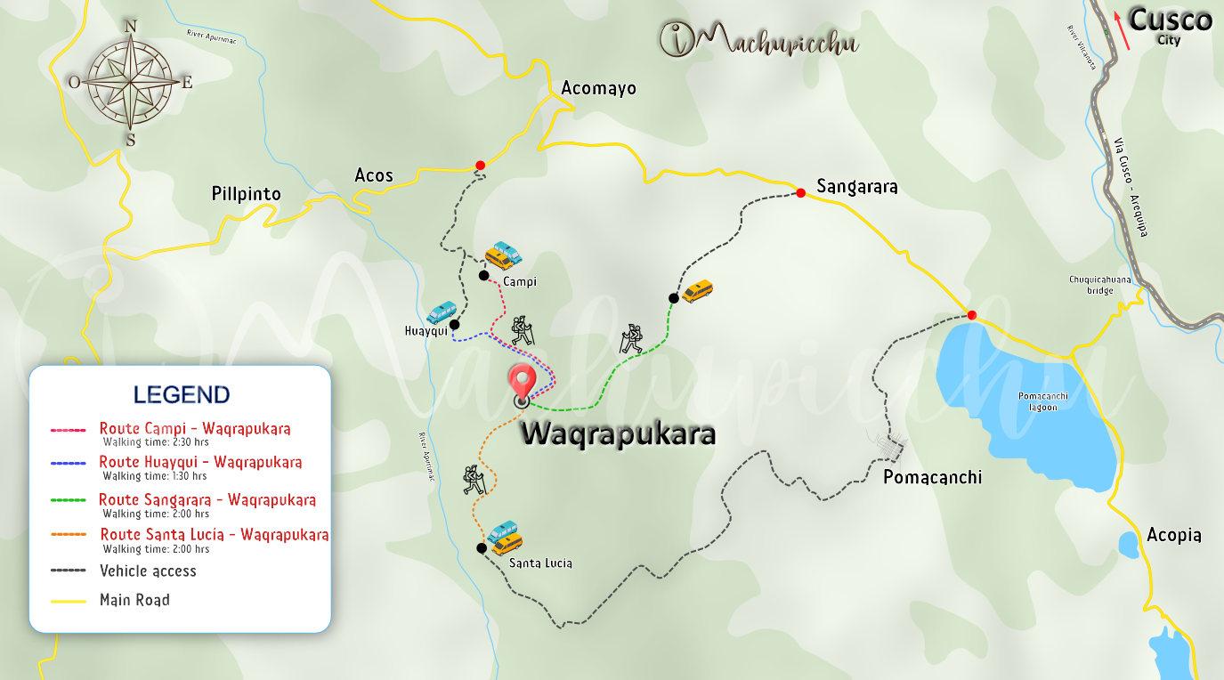 Map to get to Waqrapukara