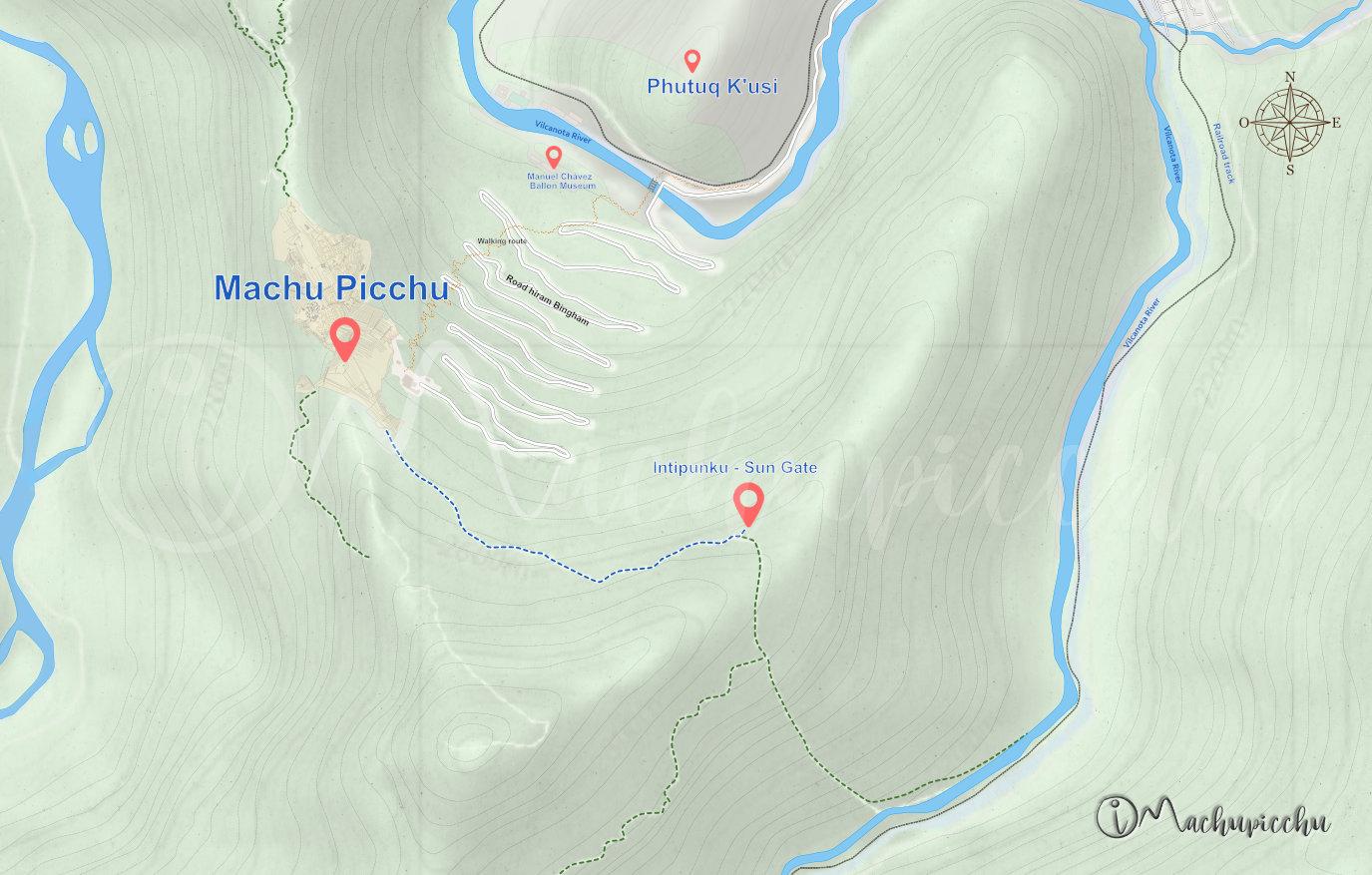 Map Intipunku - Machu Picchu